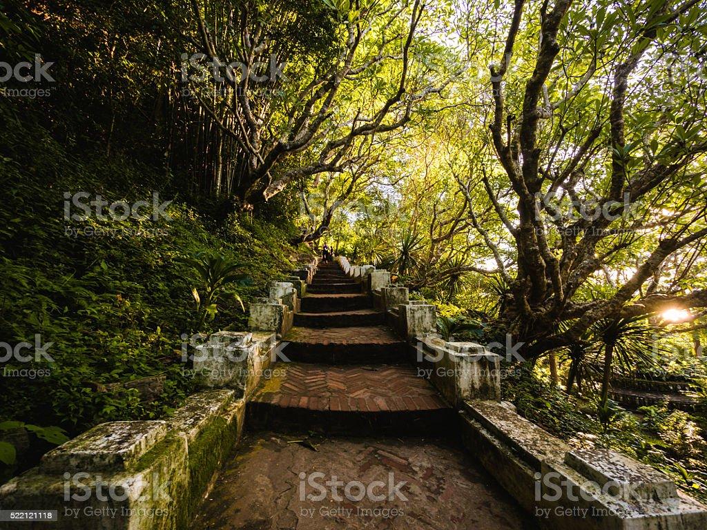 Steps in Mount Phou Si in Luang Prabang, Laos stock photo