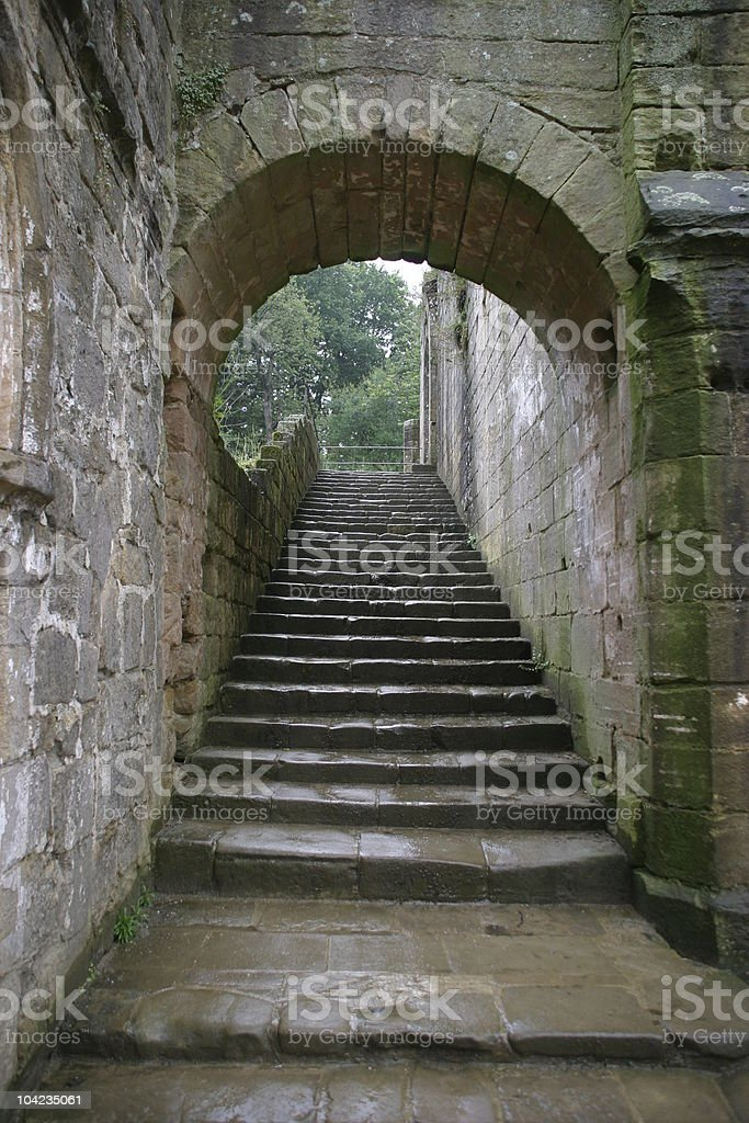 Steps in ruins stock photo