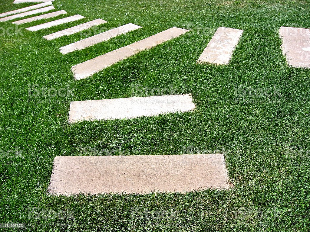 Steps in the grass royalty-free stock photo