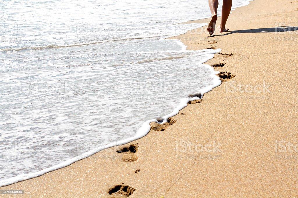 Steps in the sand along the coastline stock photo