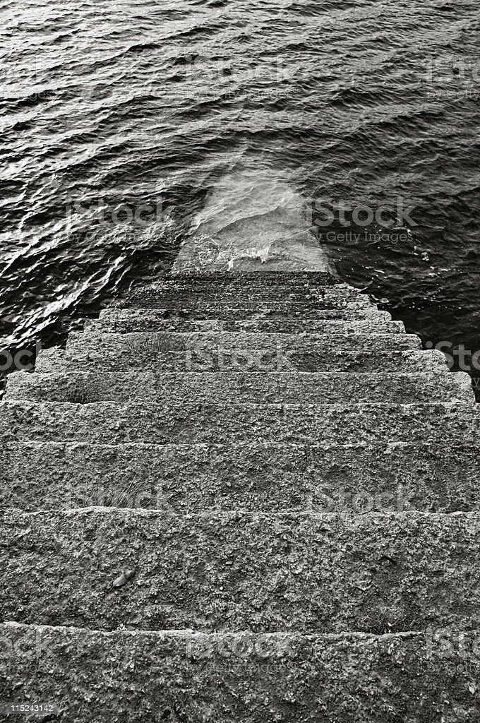 steps into the water, Cornwall stock photo