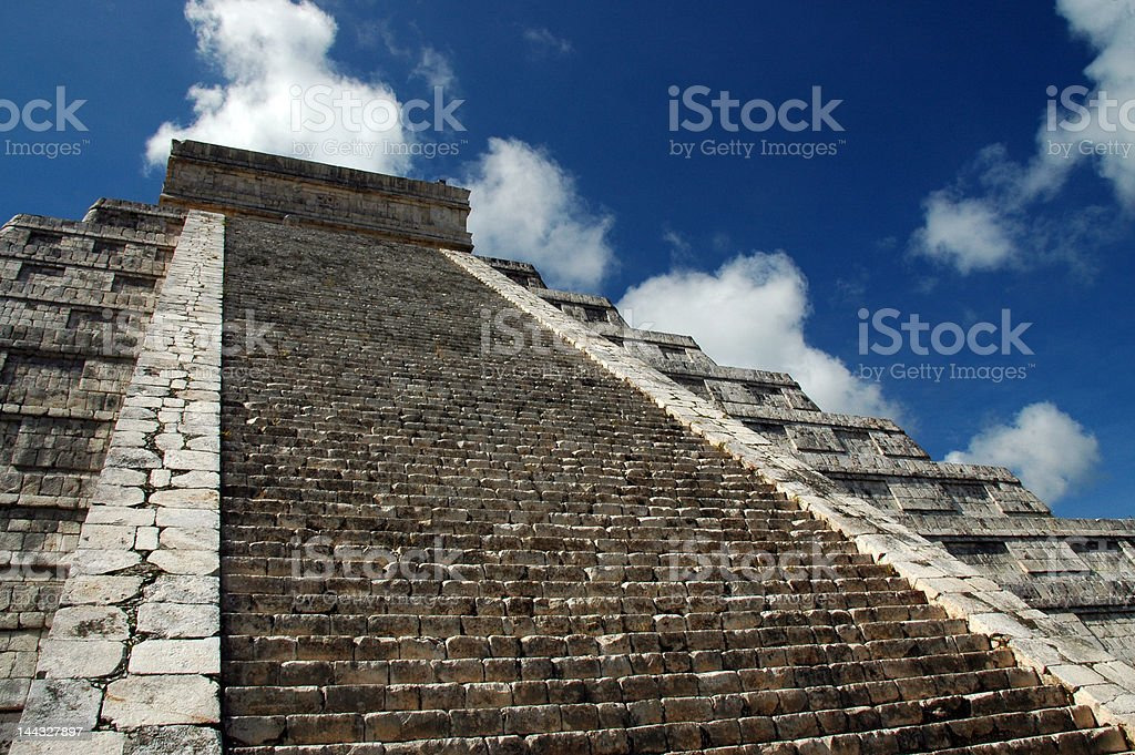 Steps Leading to the Top of a Mayan Pyramid stock photo