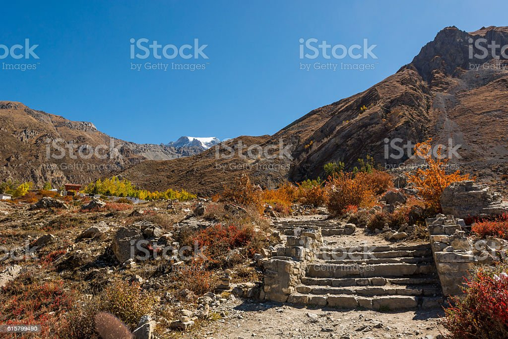 Steps leading towards a sacred place near Muktinath. stock photo