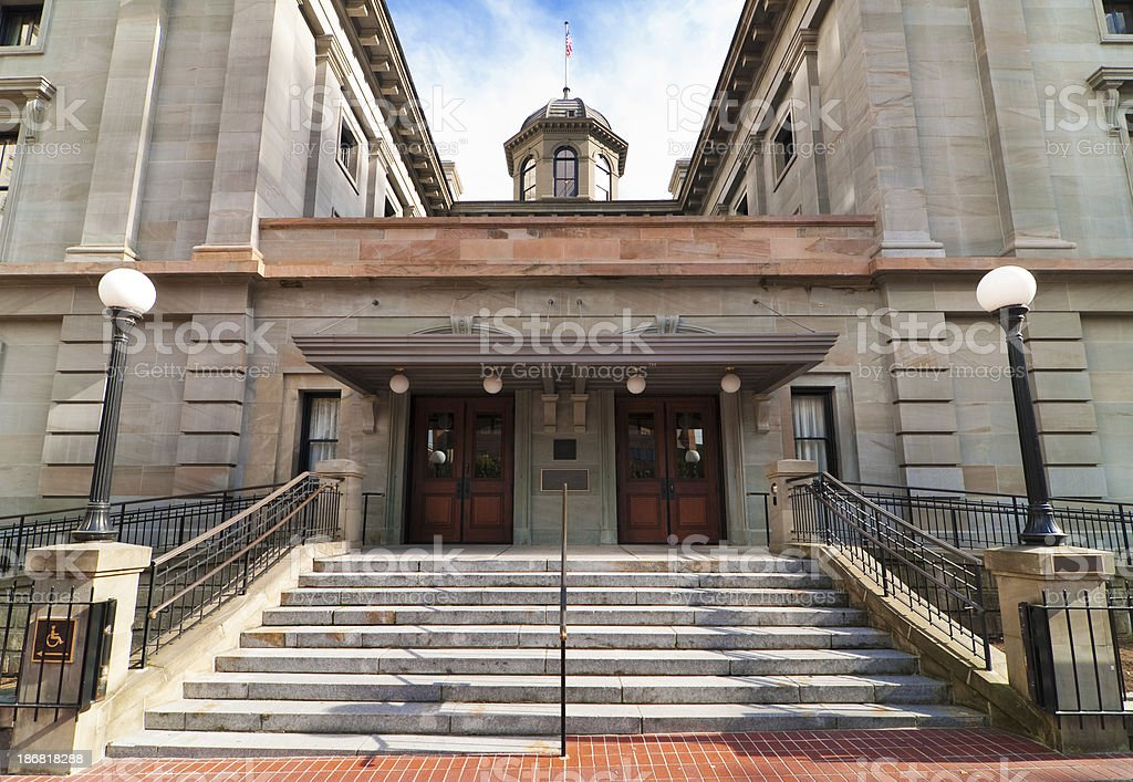 Steps leading up to Pioneer Courthouse in Portland, Oregon royalty-free stock photo