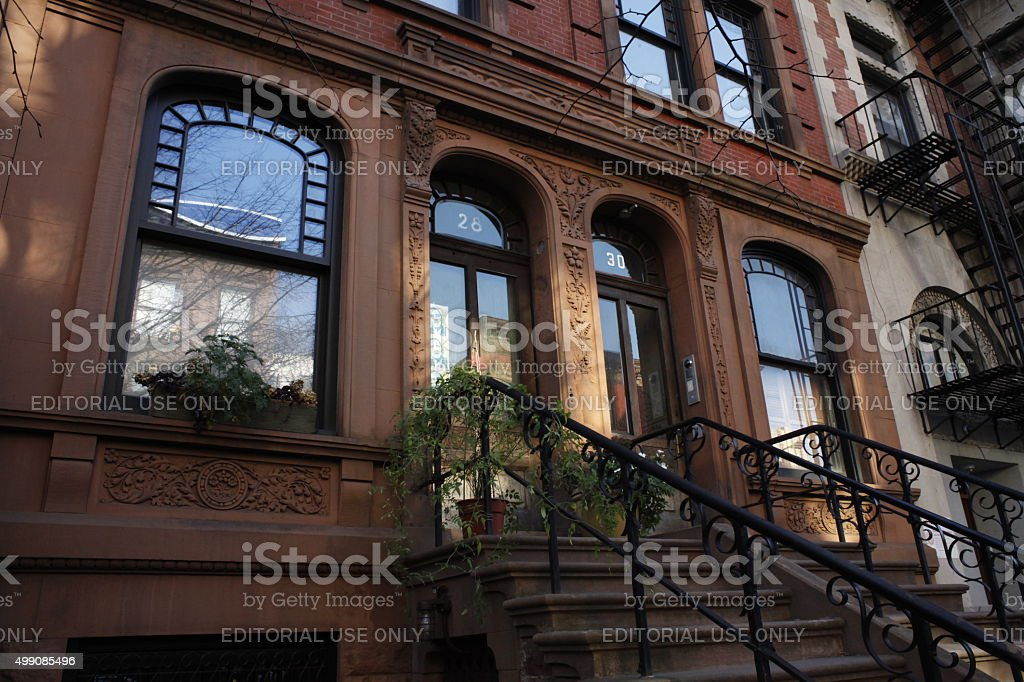 Steps of Harlem brownstone townhouse. stock photo