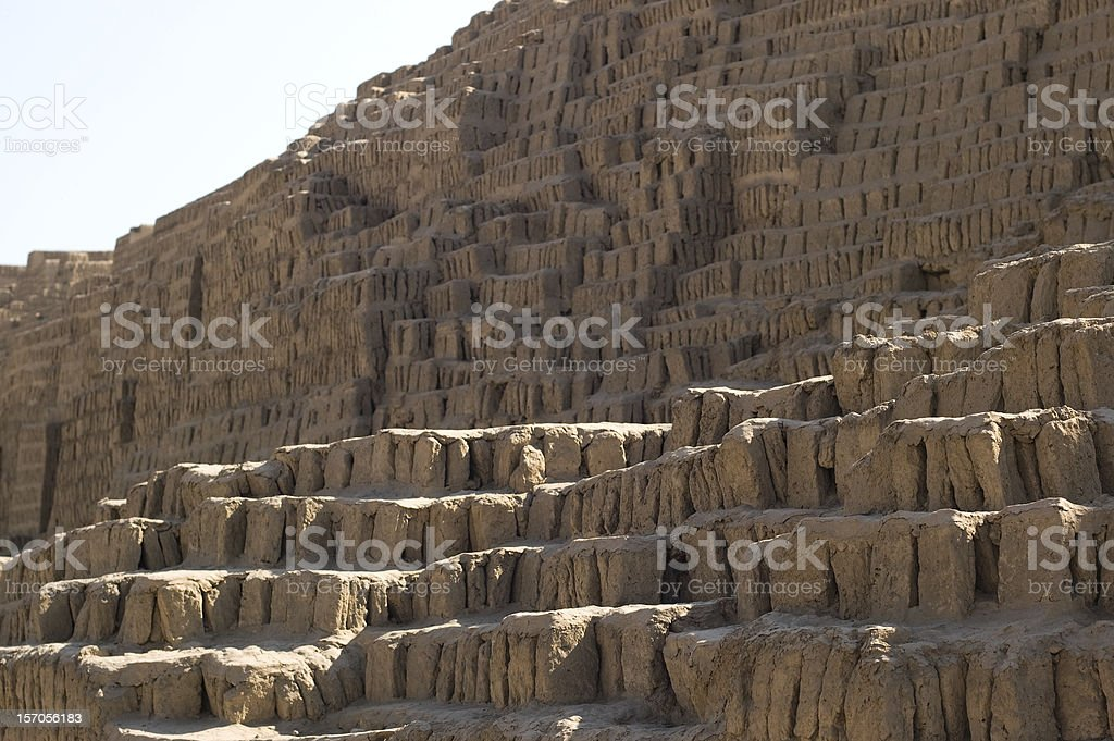 Steps of the pyramid at Huaca Pucllana, Peru royalty-free stock photo