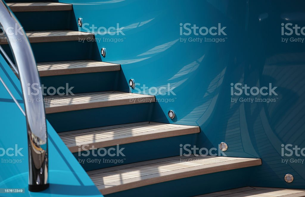 Steps on a yacht stock photo