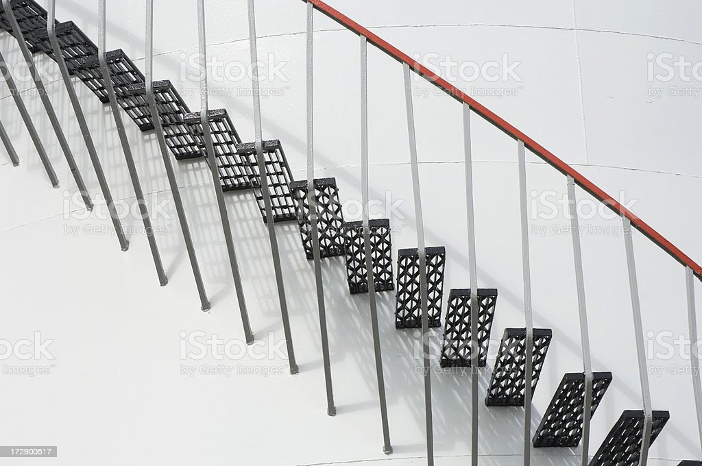 Steps on oil storage tank stock photo