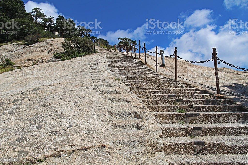 Steps on the eastern peak of Mount Huashan, Xian, China stock photo