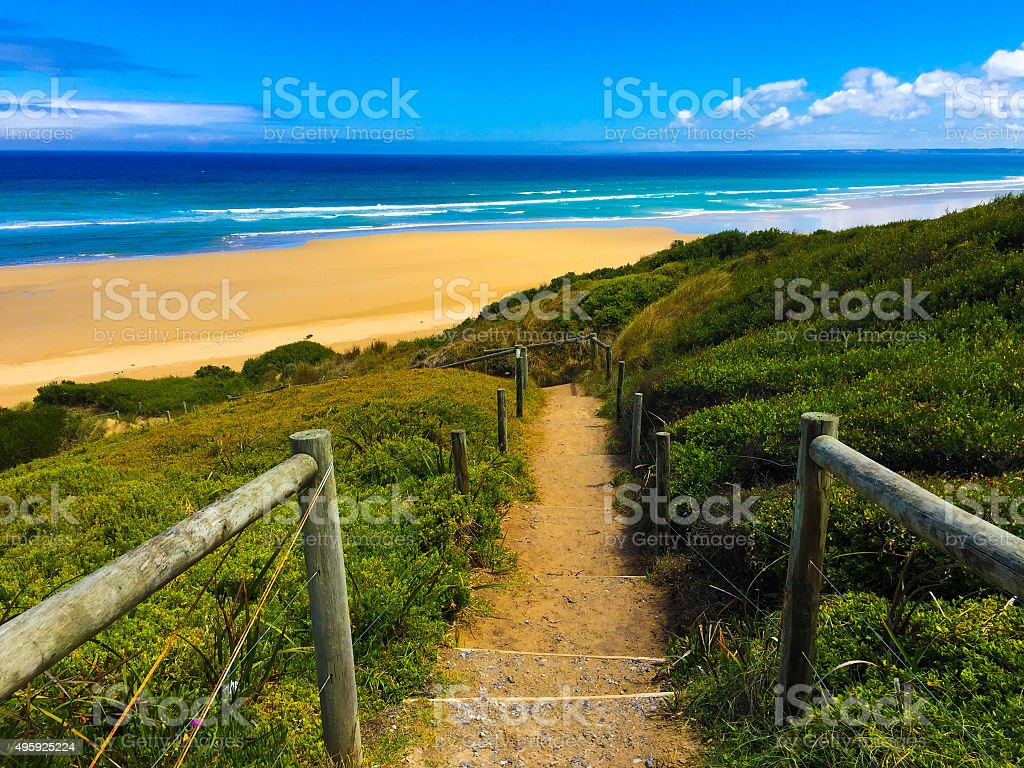 Steps to an empty beach in Australia stock photo