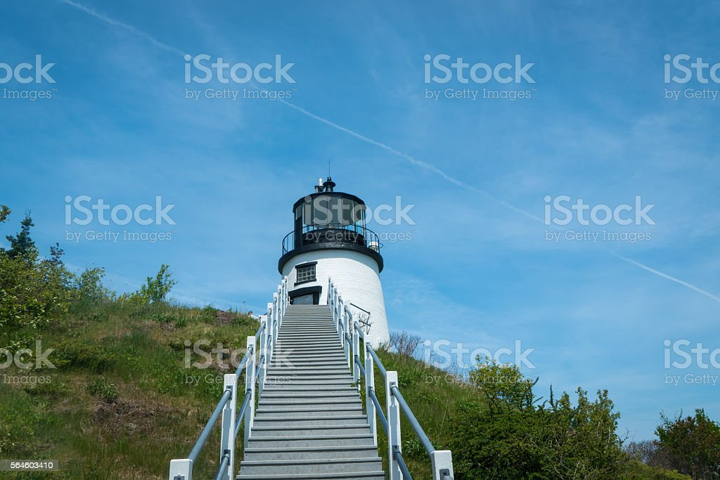 Steps to an Ocean Lighthhouse stock photo