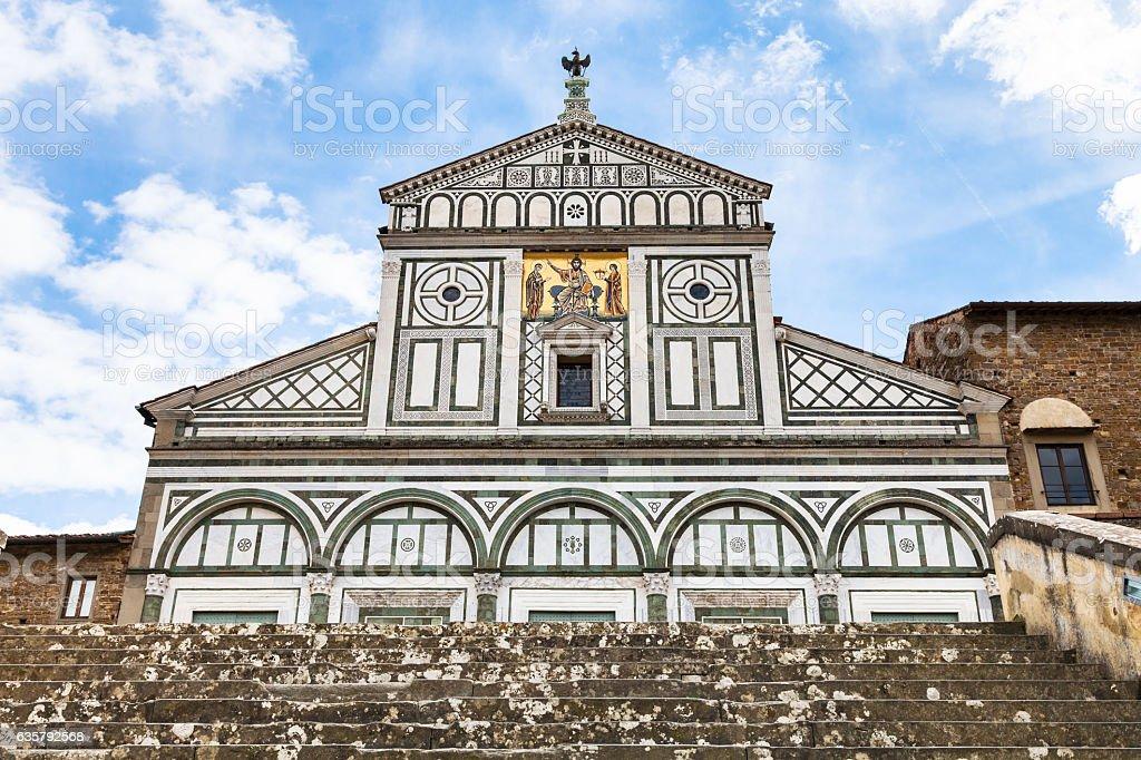 steps to Basilica San Miniato al Monte stock photo