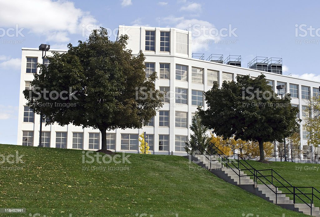 Steps to Building on Hill stock photo