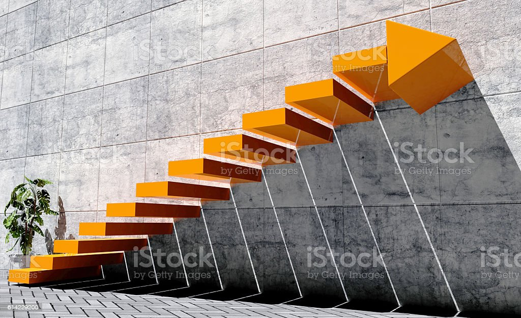 Steps to move forward to next level, success concept stock photo