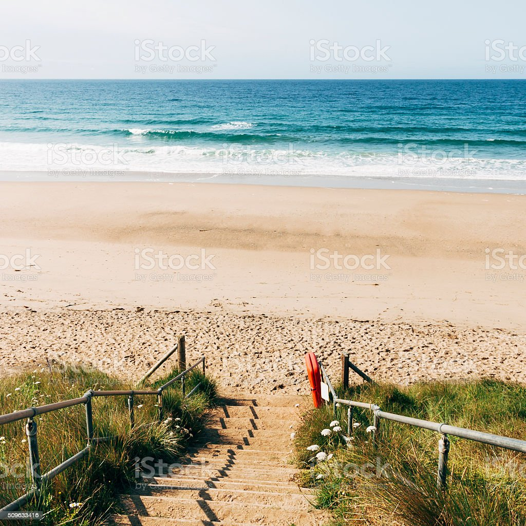 Steps to Praa Sands beach on the coast of Cornwall stock photo