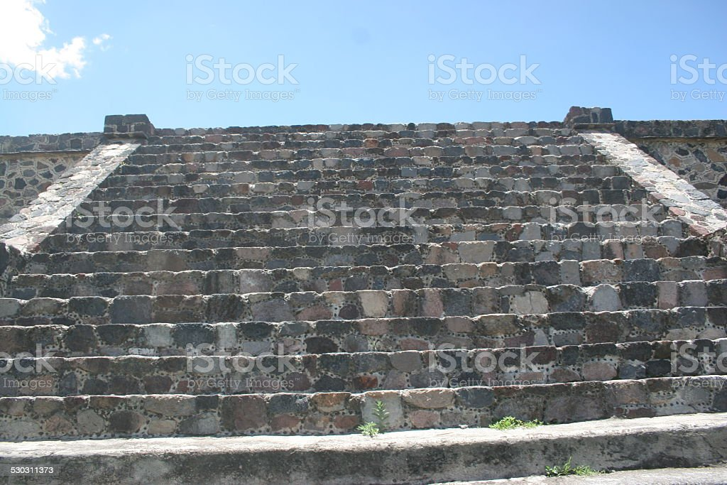 Steps to restored pyramid at Teo Tehuacan outside Mexico City stock photo