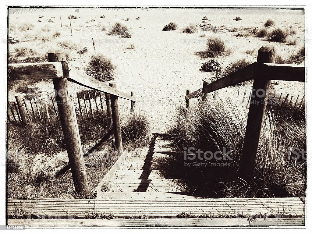 Steps to the beach, Sizewell, Suffolk stock photo