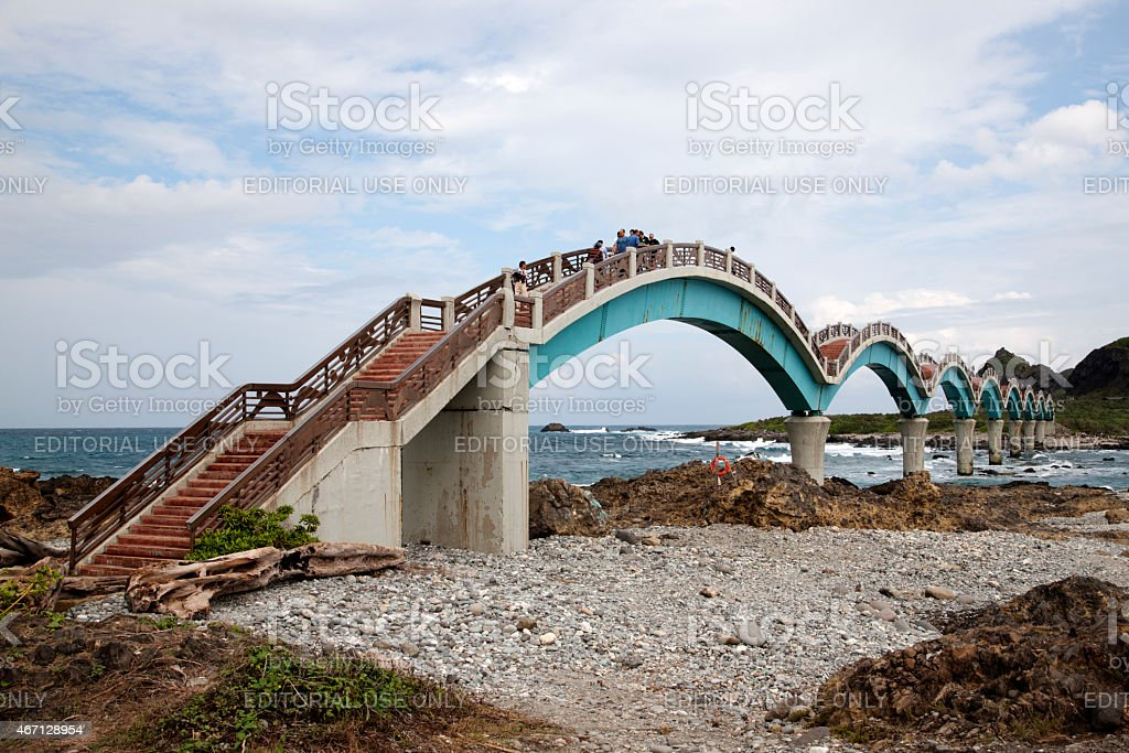 Steps to the Sansiantai Dragon Bridge, Taitung, Taiwan stock photo