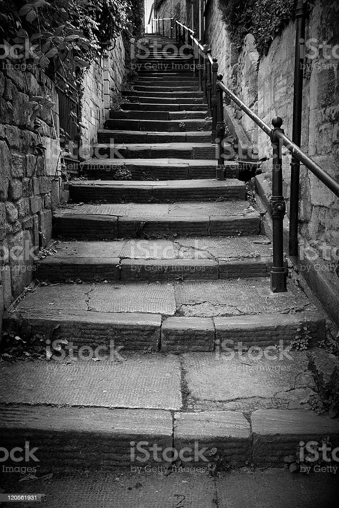Steps up a Dark Alley stock photo