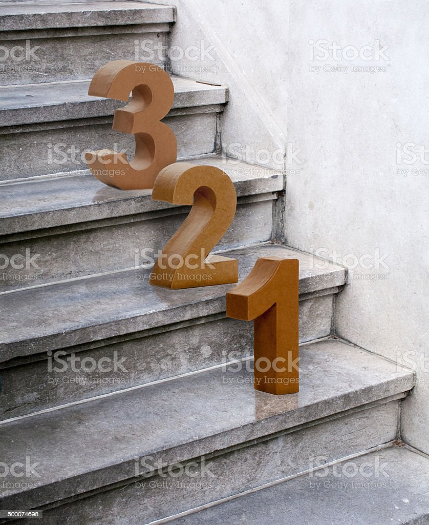 3 steps up the stone stairs stock photo