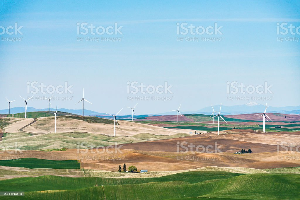 Steptoe butte on the day in spring season,Washington,usa. stock photo