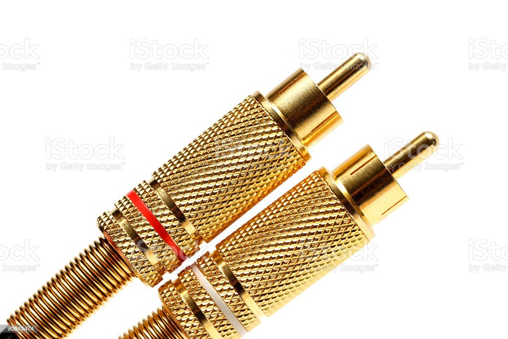 stereo audio jacks gold plated stock photo