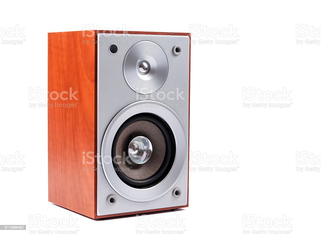 Stereo sound system isolated on white background stock photo
