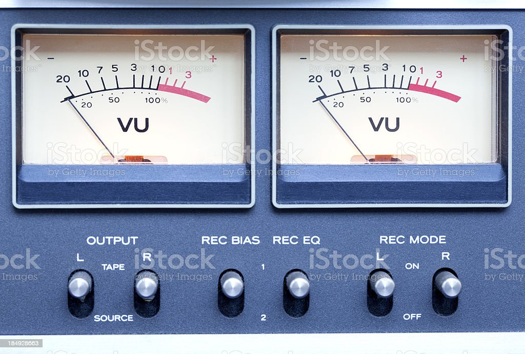Stereo Tape Recorder (detail) VU Meters stock photo