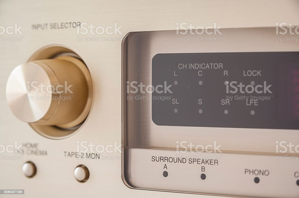 Stereo vintage amplifier stock photo