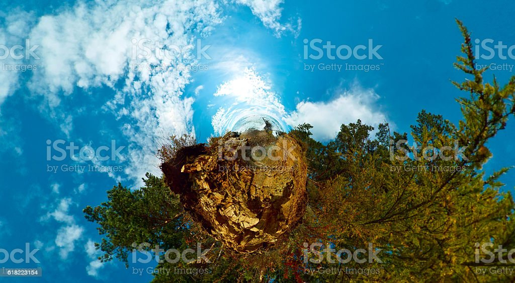 stereographics little planet trees and water. baikal stock photo