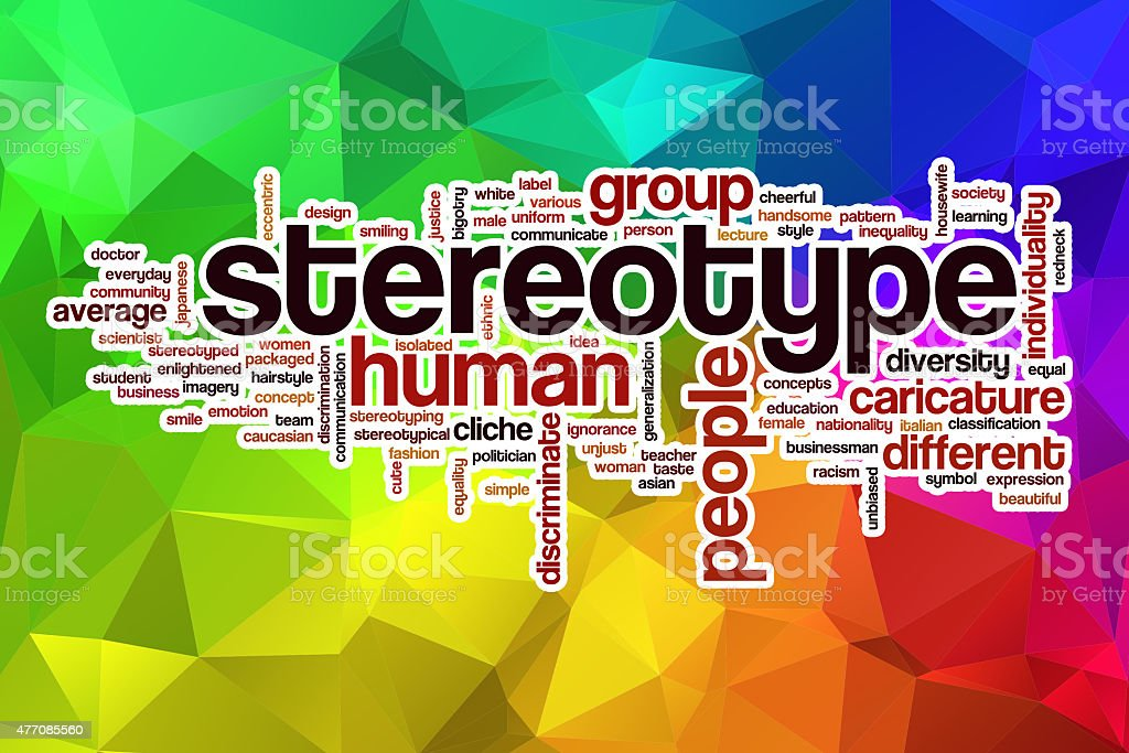 Stereotype word cloud with abstract background stock photo