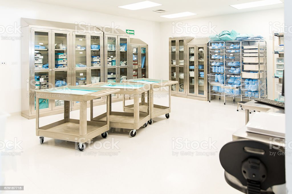 Sterile instrument and clothing storage room stock photo