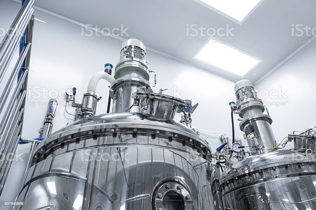 sterile production of medical drugs stock photo