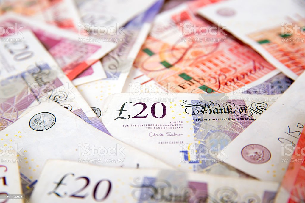 Sterling currency, British Pound Sterling stock photo