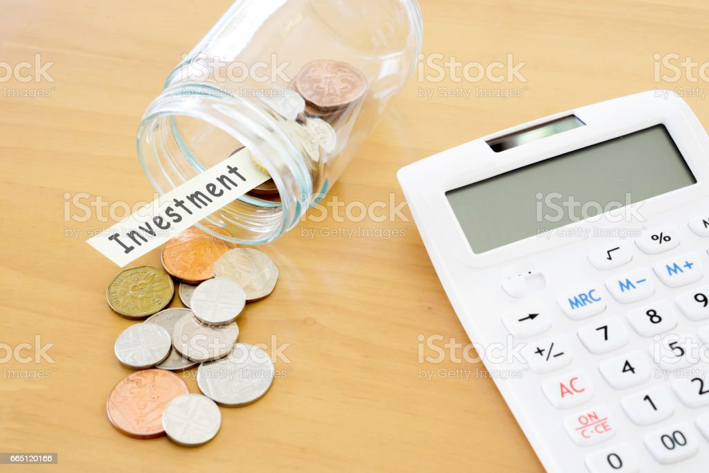 Sterling Finance - Stock image British Currency, Calculator, Coin, Currency, UK stock photo