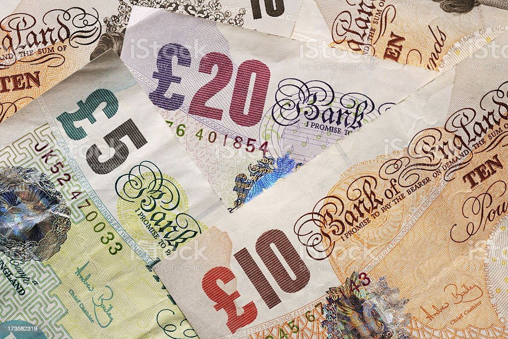 sterling pound notes royalty-free stock photo