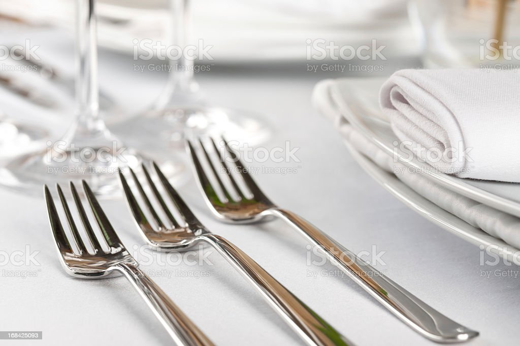 A sterling three course fork setting  stock photo