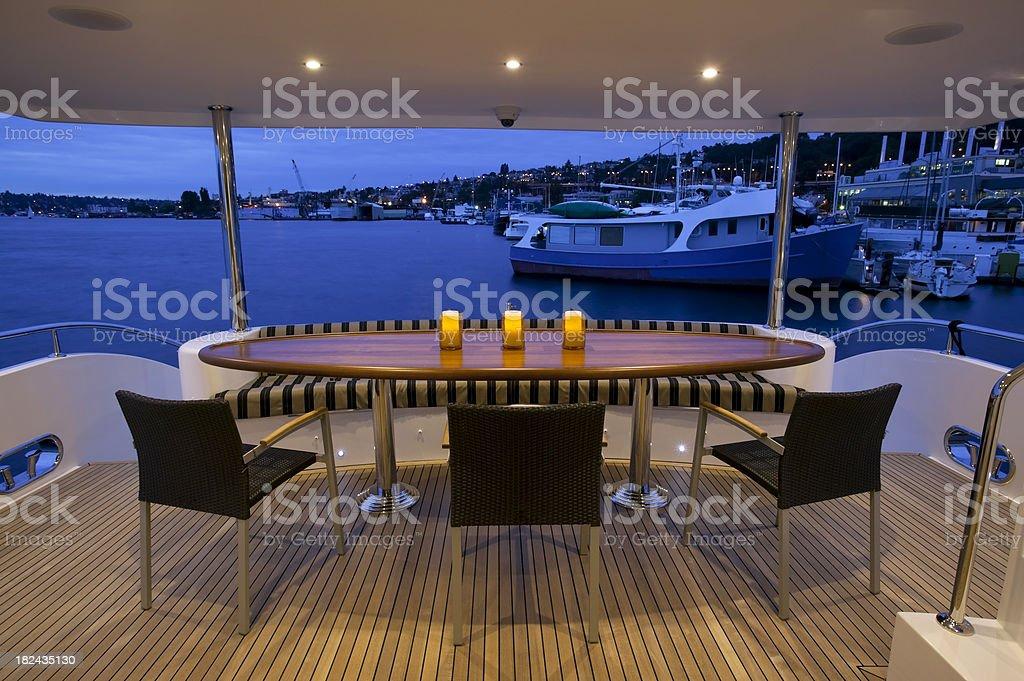 stern deck motor yacht dusk royalty-free stock photo