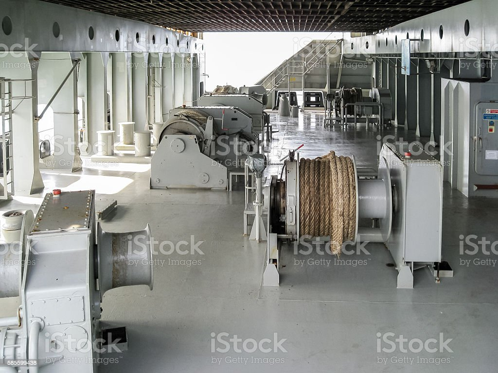 Stern deck of a container ship stock photo