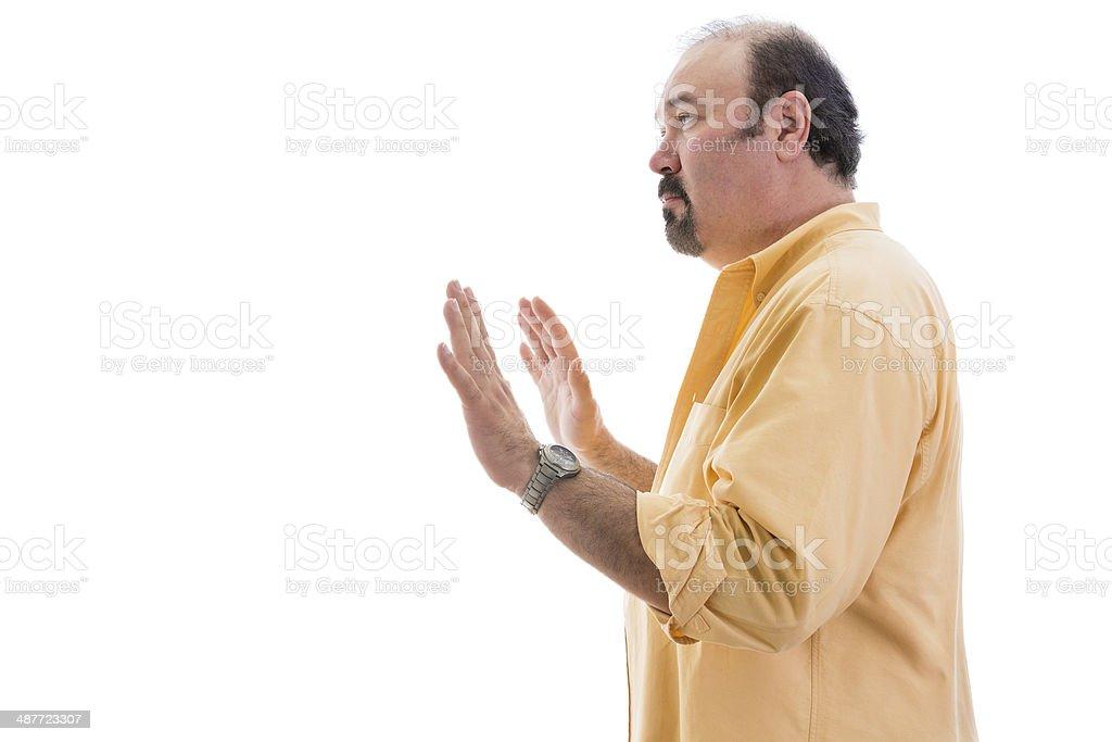 Stern determined man calling a halt stock photo