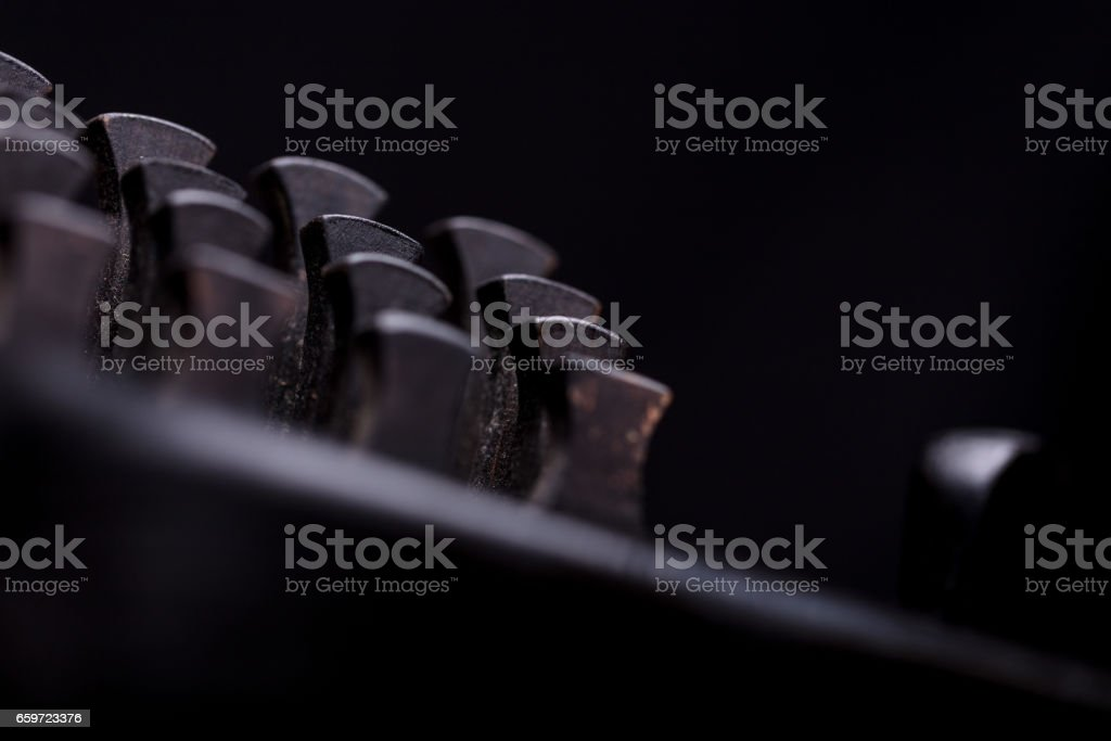stern jury made of musical instrument's keys stock photo