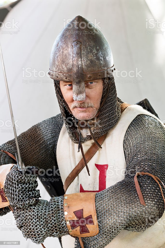 Stern Looking Knight In A Fighting Pose stock photo