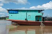 Stern of Iron transportation boat in Mae Khong River,Laos.