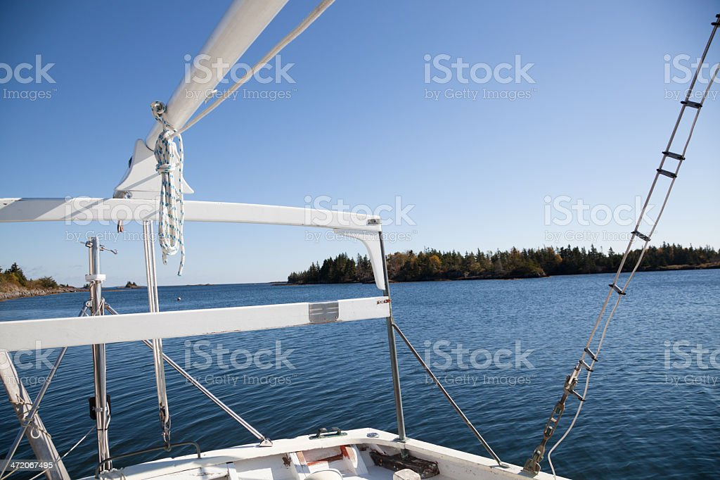 stern of yacht on bright clear day Nova Scotia stock photo