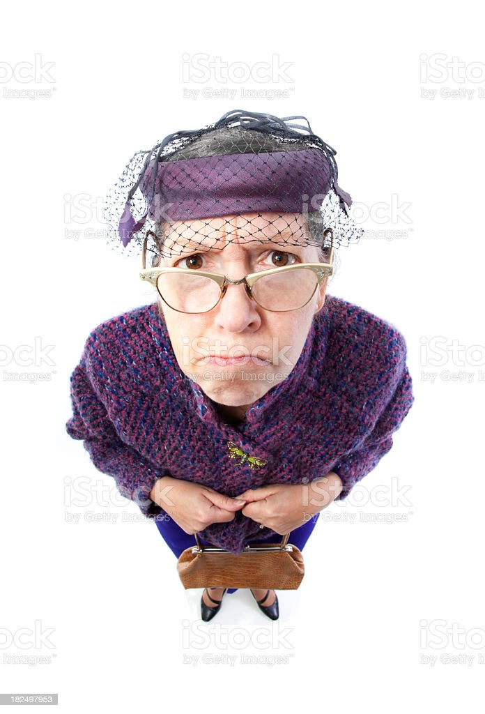 stern old lady stock photo