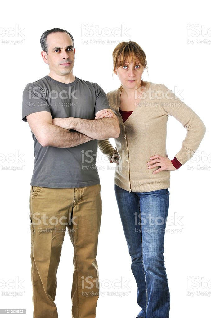 Stern parents looking angry royalty-free stock photo