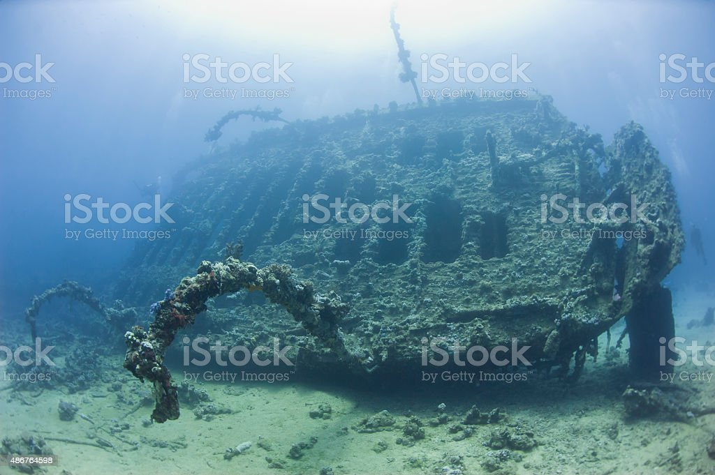 Stern section of a large shipwreck stock photo