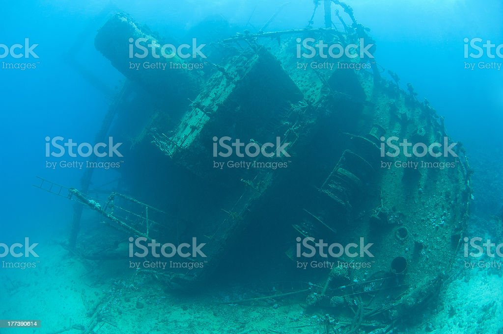 Stern section of a shipwreck stock photo