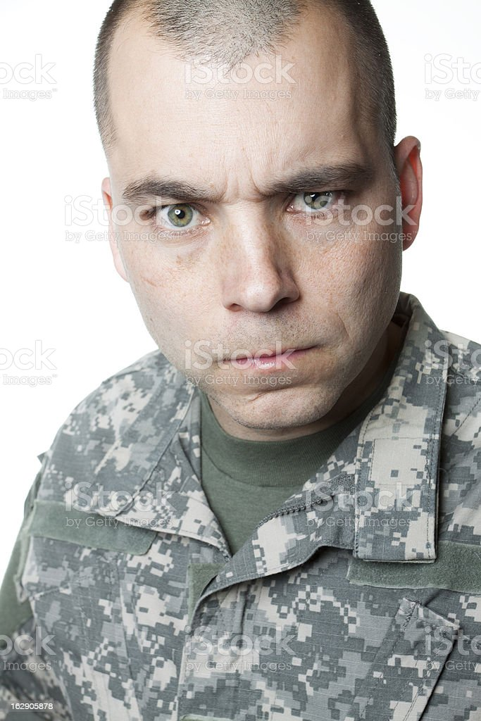 Stern Soldier stock photo