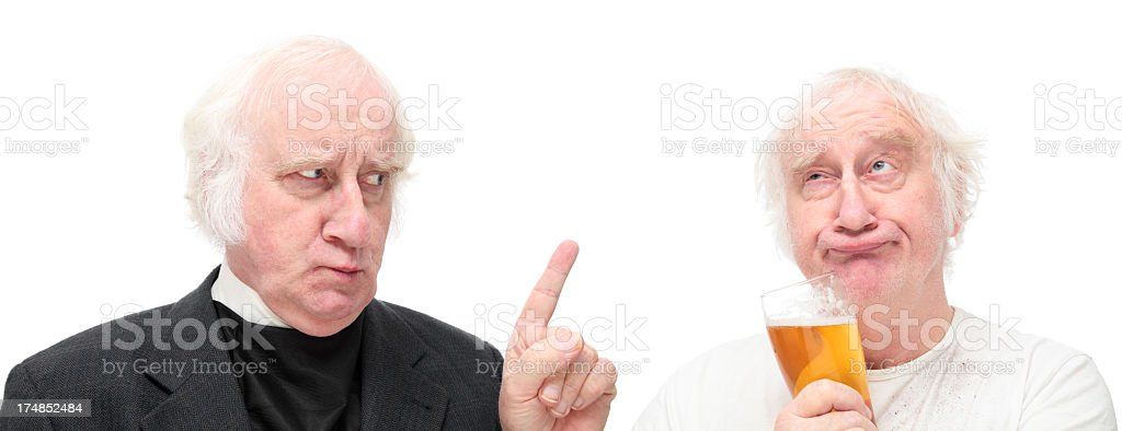 stern vicar lectures scruffy drunk isolated on white stock photo